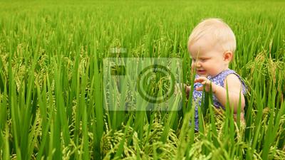 Dziewczynka w polu ryżowym