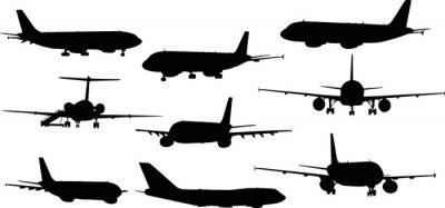 Naklejka Dziewięć samoloty silhouettes samodzielnie na białym tle