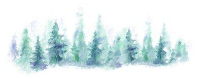 Naklejka Dzika przyroda, zamarznięta, mglista, tajga. tło akwarela