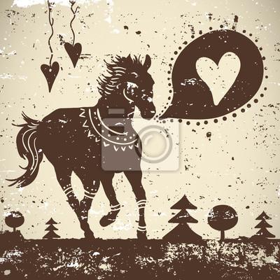 Dziki tło grungy zwierząt z konia