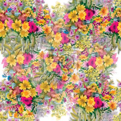 Dzikie kwiaty bez szwu wzór na białym tle