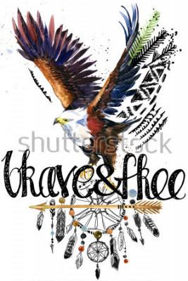 Naklejka eagle. American Indian Chief Headdress. war bonnet. dream catcher background. native american poster. animal illustration. brave and free hand written text.