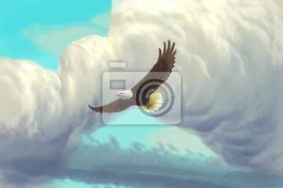 Eagle latania w niebo / cyfrowym obrazem / kreskówki