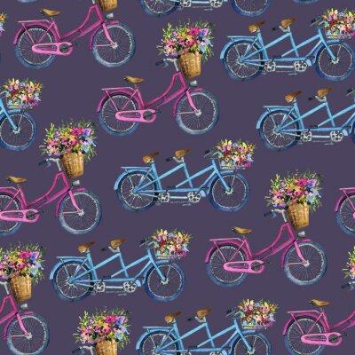 Naklejka eamless wzór z rowerami i kwiatami