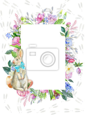Easter border with bunny footprints