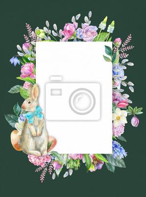 Easter frame on green background