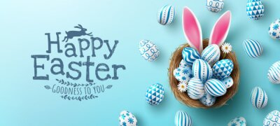 Naklejka Easter poster and banner template with Easter eggs in the nest on light blue background.Greetings and presents for Easter Day in flat lay styling.Promotion and shopping template for Easter