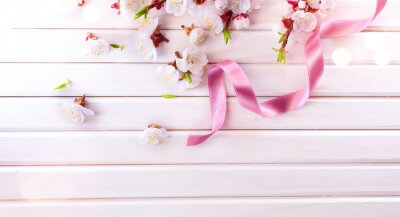 Easter Spring Blossom on white wooden plank background. Easter Apricot flowers on wood, border art design with pink satin ribbon. Pink blooming tree on wood backdrop closeup.