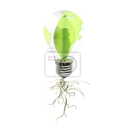 Eco żarówka z wewnątrz liści i korzeni. Tło projektu Vector.