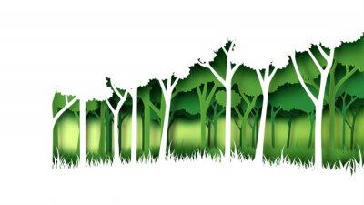 Naklejka Eco zieleni natury tła lasowy szablon Lasowa plantacja z ekologii i środowiska konserwaci pomysłu pojęcia papieru sztuki kreatywnie kreatywnie stylem również zwrócić corel ilustracji wektora.