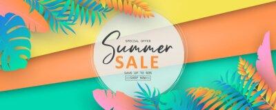 Naklejka Editable summer sale banner with tropical leaf theme