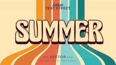Naklejka Editable text style effect - retro summer text in grunge style theme
