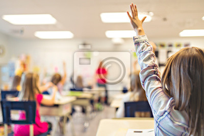 Naklejka education and school concept little student girl studying at school arm up