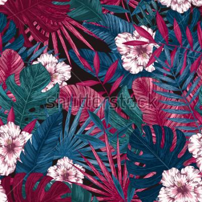 Naklejka Egzotyczne liście i kwiaty wzór. Tropikalny kwiatowy tło. Ilustracji wektorowych