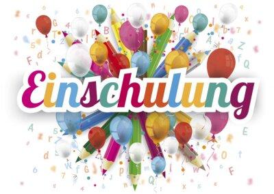 Naklejka Einschulung Cover mit bunten Luftballons