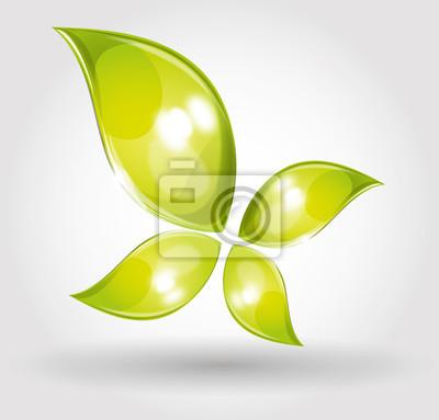 Naklejka ekologia motyl zielony