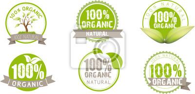 Naklejka Ekologia, zielone, organiczne, ekologiczne, ikony
