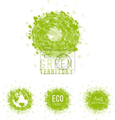 Naklejka Ekologia, zielony, bio, ikony