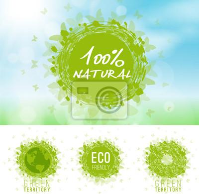 Naklejka Ekologia, zielony, bio, ikony, w 100% naturalne