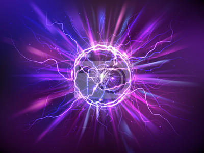 Naklejka Electric ball or plasma sphere with rays, realistic vector illustration. Abstractt ball lightning with burning flash or powerful electric discharges isolated at night background. Magical energy design