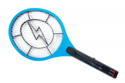 Naklejka Electric mosquitoes killer tennis racket shape style isolated on white background. Rechargeable mosquito swatter bat isolated