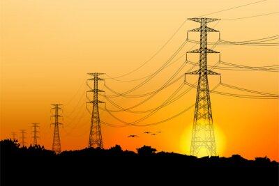 Naklejka Electric post and sunrise scenery