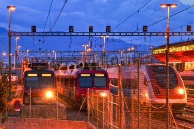 Naklejka Electric train in Geneva rail yard