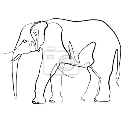 Elefant one line drawing. Hand drawn minimalism style vector illustration