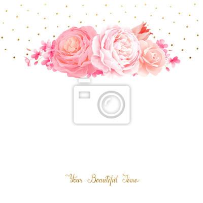 Elegancja bukiet kwiatów kolor różowe róże i tulipan. Sk? Ad z kwiatami ga ?? zie i list z miejsca na tekst na bia? Ym tle.