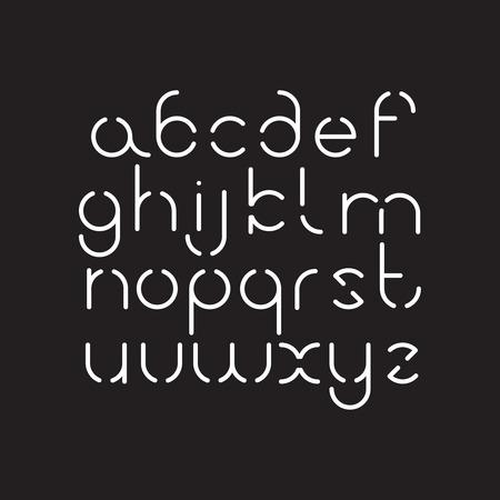 Elegancka, orbedowa czcionka. Okrągły alfabet łaciński. Białe cienkie litery na czarnym tle.