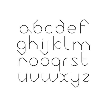 Elegancka, orbedowa czcionka. Okrągły alfabet łaciński. Czarne cienkie litery na białym tle.