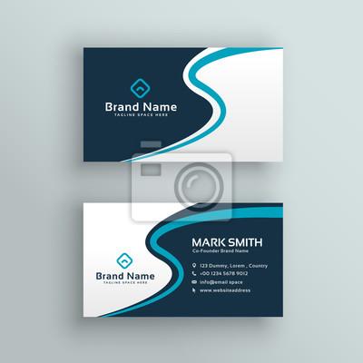 elegancki design wizytówki niebieski fali