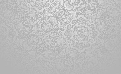 Naklejka Elegancki kwiatowy tło wektor. Srebrny stonowanych zabytkowe dekoracyjne tekstury.