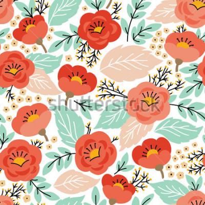 Naklejka Elegancki wzór z kwiatami. Może być używany do tapet lub ramek na ścianę lub plakat, do wypełnień deseniem, tekstur powierzchni, tła strony internetowej, tekstliów i innych.