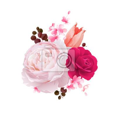 Eleganckie kwiaty bukiet kolorowych róż i tulipanów. Skład z kwiatami kwiatów i gałęzi. Ilustracji wektorowych.