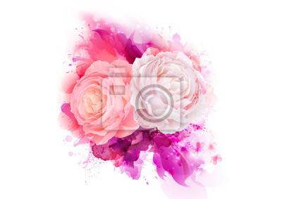 Eleganckie kwiaty bukiet róż różowy kolor. Skład z kwiaty kwiaty na purpurowy abstrakcyjna artystycznych tła