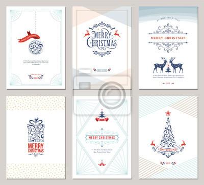 Eleganckie pionowe zimowe kartki z życzeniami z drzewem noworocznym, reniferami, pudełkiem, ozdoby świąteczne i ozdobny wzór typograficzny.