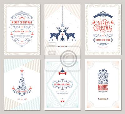 Eleganckie pionowe zimowe kartki z życzeniami z drzewem noworocznym, reniferami, pudełkiem, ozdoby świąteczne i ozdobny wzór typograficzny. Ilustracji wektorowych.