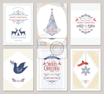 Eleganckie pionowe zimowe wakacje kartki z drzewem Nowy Rok, gołąb, renifery, płatek śniegu, ozdoby świąteczne i ozdobny projekt typograficzny.
