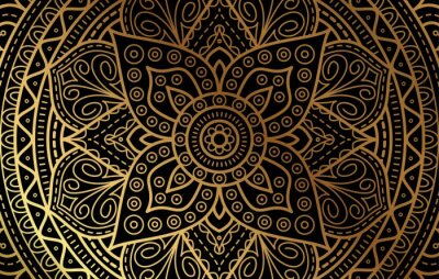 Naklejka Elegant background with gold luxury floral pattern texture and traditional arabian mandala concept, use for islamic ramadan banner design, business card greeting card, and poster design vector eps10