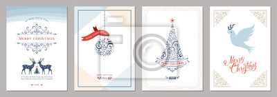 Elegant vertical winter holidays greeting cards.