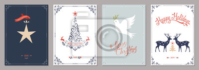 Elegant vertical winter holidays greeting cards with New Year tree, dove, deers, Christmas ornaments and ornate typographic design.