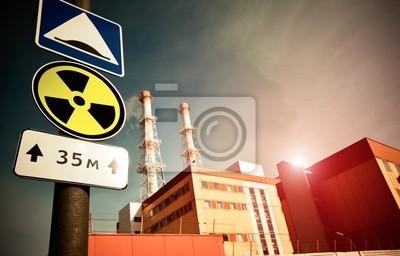 Elektrownia jądrowa z radioaktywności znak