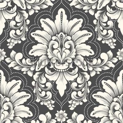 Naklejka Element adamaszku wektor wzór. Klasyczny luksusowy staromodny ornament damasceński, królewska wiktoriańska bezszwowa tekstura do tapet, tekstyliów, opakowań. Wykwintny kwiatowy barokowy szablon.