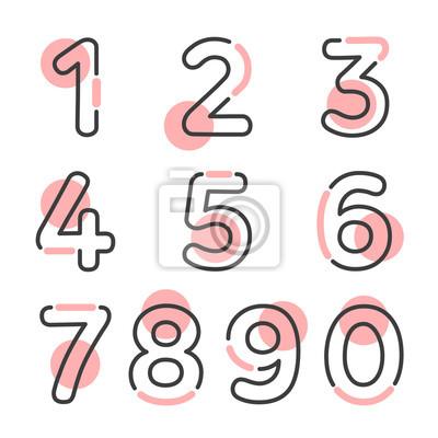 Naklejka (Element) dziesięć liczb od zera do dziewiątego, numer płaski