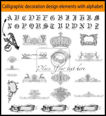Elementy projektu kaligraficzne dekoracje z nazwy literowej