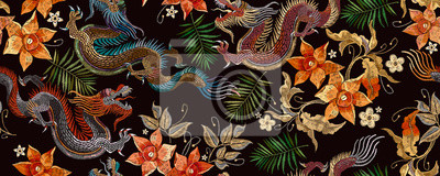 Naklejka Embroidery asian dragon and beautiful yellow daffodils flowers seamless pattern. Oriental style. Japan and China art