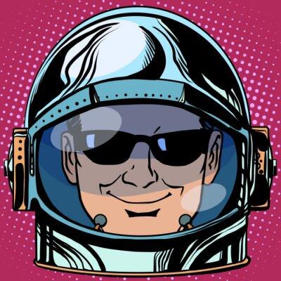 Naklejka emotikon Emotikon szpiegiem twarz człowieka astronautą retro
