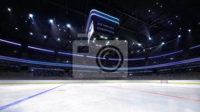 empty ice hockey arena indoor playground view illuminated by spotlights., hockey and skating stadium indoor 3D render illustration background, my own design.