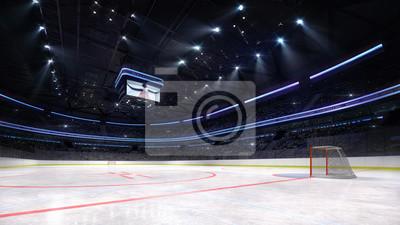 empty ice hockey arena inside playground view illuminated by spotlights, hockey and skating stadium indoor 3D render illustration background, my own design.